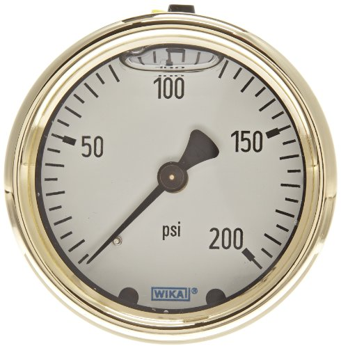 """WIKA 9318194 Industrial Pressure Gauge, Liquid-Filled, Copper Alloy Wetted Parts, 2-1/2"""" Dial, 0-200 psi  Range, +/- 2/1/2% Accuracy, 1/4"""" Male NPT Connection, Center Back Mount"""