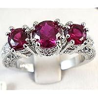 Aisamaisara 925 Sterling Silver Three Stone Ruby Emerald Sapphire Ring Wedding Women Jewelry Purple (8)