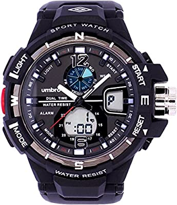 UMBRO UMB-012-1 Unisex ABS Black Band, ABS Bezel 45mm Case Digital MIYOTA AL35 SR626Sw Electronic Precision Movement Water Resistant 5 ATM Sport Watch