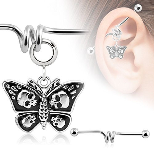 (Body Accentz Industrial bar 316L Surgical 14g 1 1/2 Butterfly with Skulls Dangle Charm Industrial Barbell HO2905)
