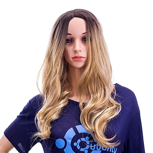 SWACC 24-Inch Long Curly Wave Synthetic Full Wig, Dark Brown Root Ombre to Blonde Highlights Color Hair Piece for Women with Wig Cap]()
