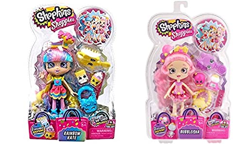 Shopkins Kids Shoppies S2 W2 DollL Rainbow Kate & Shoppies S1 Doll Pack Bubbbleisha Playset, 2 Pack