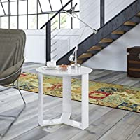 Manhattan Comfort Madison 2.0 Series Round End Table in White Gloss