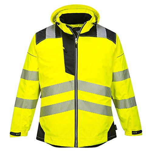 Portwest PW3 Hi-Vis Winter Jacket Work Safety Protective Reflective Waterproof Coat ANSI 3, Large
