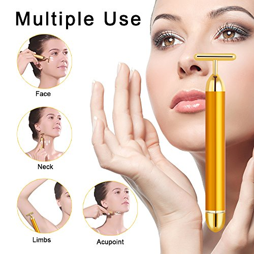 Tosun 24k Golden Facial Massager Beauty Bar, High Frequency Vibration Face Massage Tool for Face Lift, Anti-Wrinkles,Skin Tightening and Eliminate Dark Circles by Tosun (Image #3)