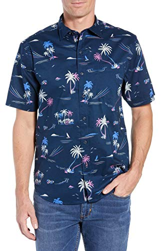 (Tommy Bahama Costa Breeze Stretch Cotton Camp Shirt (Color: Ocean Deep, Size L))