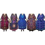 Mogul Womens Maxi Caftan Printed Stylish Cover Up Kaftan House Dress Wholesale Lot of 5 Pieces