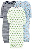 Simple Joys by Carter's Baby Boys' 3-Pack Cotton Sleeper Gown, Blue/White, Newborn