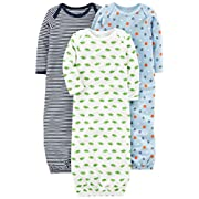 Simple Joys by Carter's Boys' 3-Pack Cotton Sleeper Gown, Blue/White, 0-3 Months