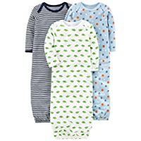 Simple Joys by Carter's Baby Boys' 3-Pack Cotton Sleeper Gown, Blue/White, Ne...