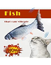 Dolloress Cat Interative Toys Fish Toy Moving 3D Simulation Fish Shape Electric Doll Pets Pillow Chew Bite for Cat Puppy Kitten Ferret Rabbit