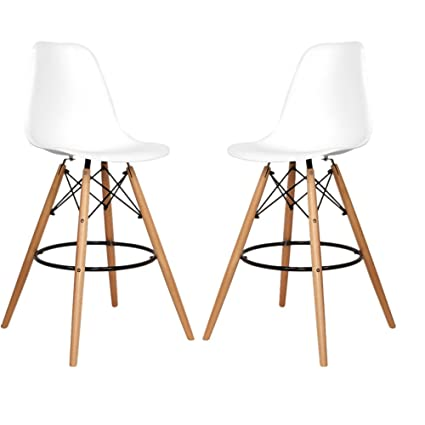 Fancyhouse Set Of 2 Eames Style DSW Molded Plastic Bar Stool Counter Height  Chairs With Wood