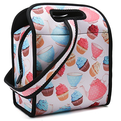 (Neoprene Lunch Bag -Insulated Bento Bag With Zipper And Strap For Boys Girls Kids Teen & Adults. For Lunch Tote, Lunch Box, Food Container to School, Work (Nice Cup Cake))