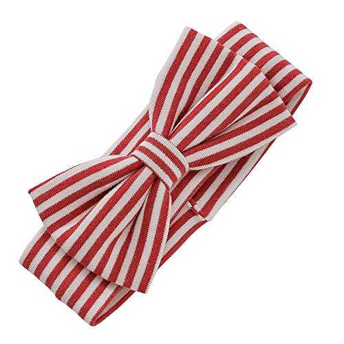 Organic Cotton Striped Hair Hoops Soft Headbands with Bows Baby Girl (Red) (Headband Cotton Striped)