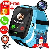 "TURNMEON Kids Smart Watches with Free SIM Card- 1.44"" GPS Tracker Wrist Smart Watch Phone for Boys Girls with Camera Pedometer Smartwatch Bracelet for Birthday Halloween (Blue)"