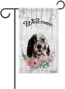 BAGEYOU Welcome Spring Summer Flowers Cute Dog English Setter Decorative Garden Flag Lovely Puppy Floral Seasonal Home Decor Banner for Ourside 12.5 X 18 Inch Print Double Sided
