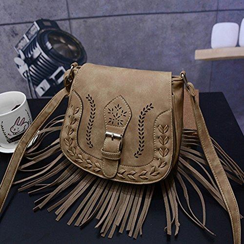 Damen Fransen Umhängetasche Citytasche Schultertasche Messenger Bag See Blau Einheitsgröße Khaki Zbvi1UeS