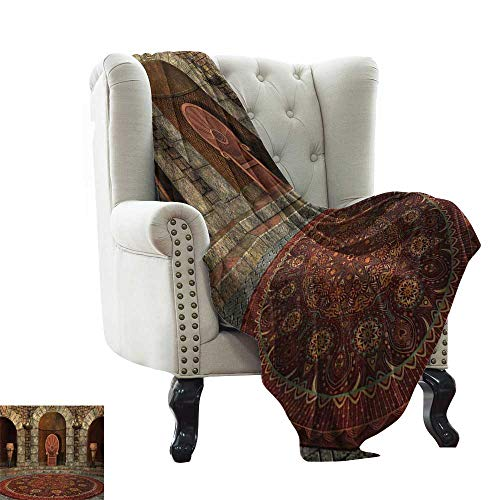 - LsWOW Bed Blanket Gothic,Throne of King in Vintage Style Palace Chandelier Medieval Architecture Theme,Burgundy Grey Extra Cozy, Machine Washable, Comfortable Home Decor 50