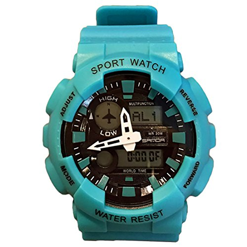 Sports Digital Wrist Watch Mens Multifunctional with Rubber Straps Band Analogue Dial Quartz Movement (Blue) (Digital Blue Dial Rubber Strap)