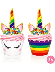 Unicorn Party Supplies - Cupcake Toppers + Wrappers - Set of 24