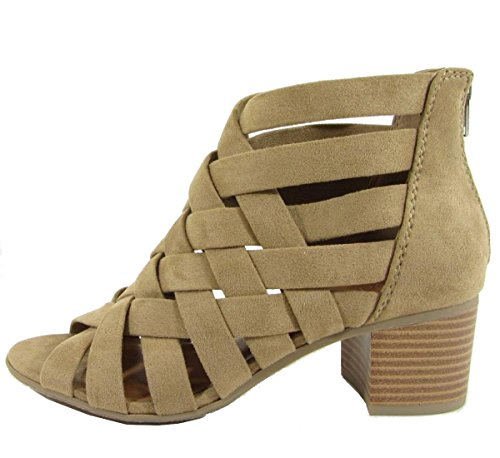 Ciudad Clasificada Mujer Interwoven Lattice Stacked Heel Botaie Natural