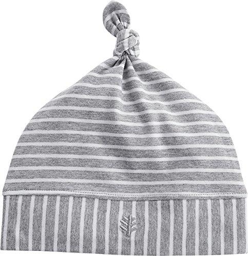 (Coolibar UPF 50+ Baby Beanie Hat - Sun Protective (0-6 Months- Grey/White Stripe))