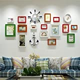 Wooden Living Room Photo Wall European Creative Simple Large-size Photo Frame Combination ( Color : B )