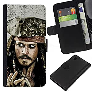 JackGot ( Jack Sparrow ) Sony Xperia Z1 L39 la tarjeta de Crédito Slots PU Funda de cuero Monedero caso cubierta de piel