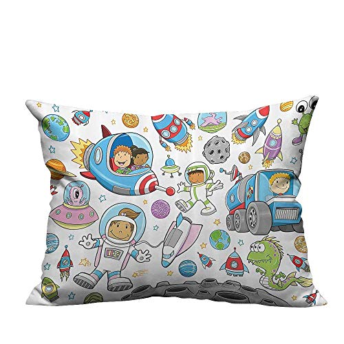 YouXianHome Super Soft Pillowcase Cute Deep Space Astraut Girl Boy Aliens Rockets Mo Kids Nursery Theme Resists Wrinkles(Double-Sided Printing) 11x19.5 inch