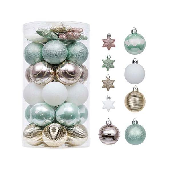 Valery Madelyn Palle di Natale 35 Pezzi 5cm Palline di Natale, Elegante Palazzo Verde Menta e Oro Rosa Infrangibile Ornamenti Palla di Natale Decorazione per Albero di Natale Decor 1 spesavip