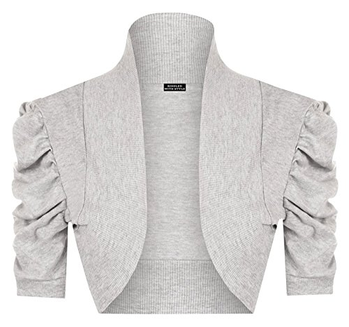 Ladies Rushed Bolero 3/4 Sleeve Cardigan Front Open Womens Casual Plain Mini Top#(Light Grey Rushed Bolero 3/4 Sleeve Cardigan#US (3/4 Sleeve Mini Sweater)