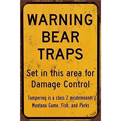 YOMIA Adt Security Signs Posters for Wall Decor for Club Bar Hotel Home Antique Metal Painting-Warning Bear Traps ()