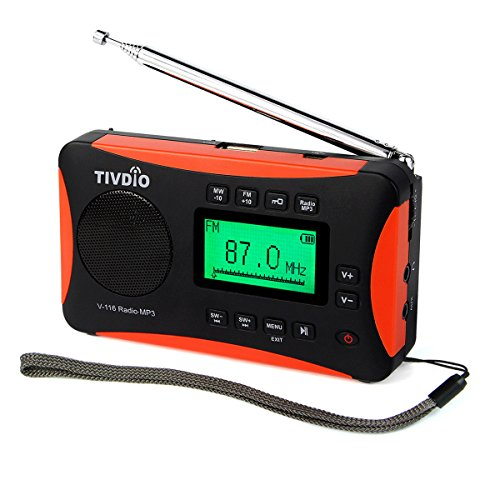 TIVDIO V-116 Portable Shortwave Radio with AM FM Transistor Support Micro-SD Card AUX Input MP3 Player Speaker Alarm Clock Sleep Timer(Black and Orange)