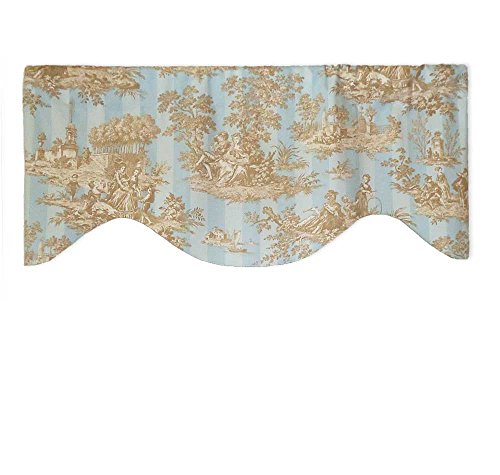 Brown Toile Valance - Powder Blue and Light Brown French Toile Valance