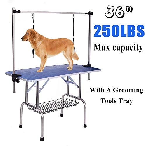 Gelinzon Pet Grooming Table for Large Dogs Adjustable Height -Portable Trimming Table Drying Table w/Arm/Noose/Mesh Tray Maximum Capacity Up to 220-300Lb Blue 36