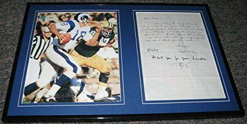 Roman Gabriel Signed Framed Letter & Photo Display Rams - NFL Autographed Miscellaneous -