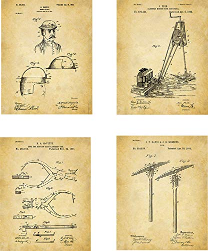Mining Patent Wall Art Prints - set of Four (8x10) Unframed - wall art decor for miners