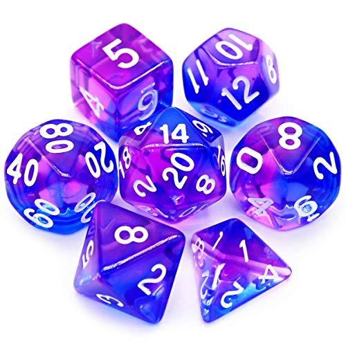 Haxtec 7PCS DND Dice Set Polyhedral D&D Dice of D20 D12 D10 D8 D6 D4 for Dungeons and Dragons TTRPG Games (Purple Blue)