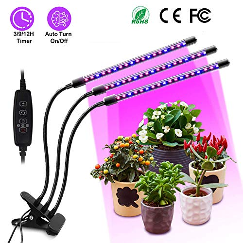 KIPRUN Plant Grow Light with Auto Turn On/Off Function, 60 LED Plant Grow Lamp with 3/9/12H Timer, 3-Head Divide Control Adjustable Gooseneck, 10 Dimmable Levels for Indoor Plants[2019 Upgraded]