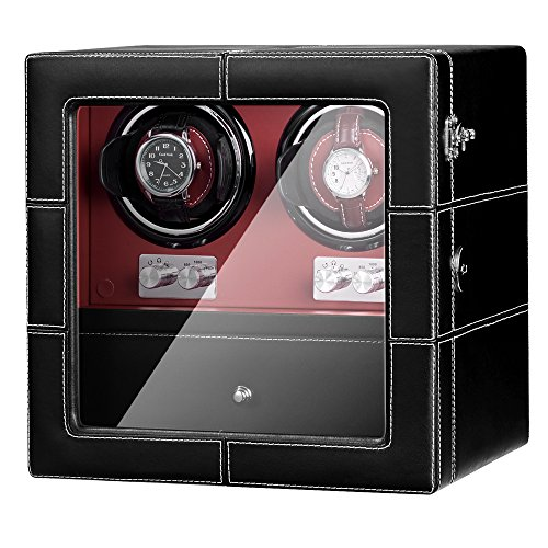 JQUEEN Double Watch Winder with Quiet Motor in Black Red Leather -