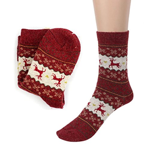Laimeng, Unisex Christmas Deer Design Knit Wool Warm Casual Socks (Red)
