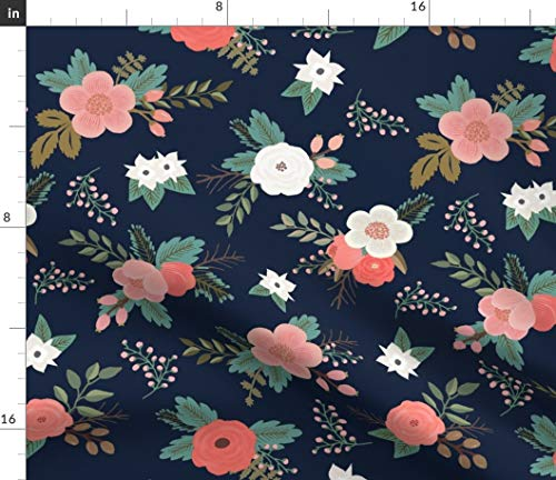 (Navy Floral Fabric - Spring Floral Nursery Floral Navy Red Coral Flowers Modern Nursery Decor by Willowlanetextiles Printed on Minky Fabric by The Yard)