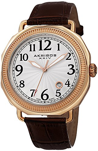 - Akribos XXIV Men's AK770RGBR Swiss Quartz Movement Watch with Silver Dial and Brown Leather Strap