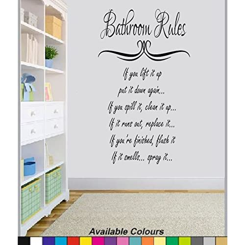 Bathroom Rules Wall Sticker Quote Funny Vinyl Decal Graphic Transfer Mural  Art 55x100 (Black)