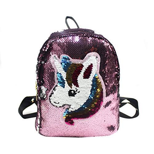 Reversible Flip Sequin Backpack for Unicorn Lover Glitter School Bag Adjustable PU Leather Shoulder]()