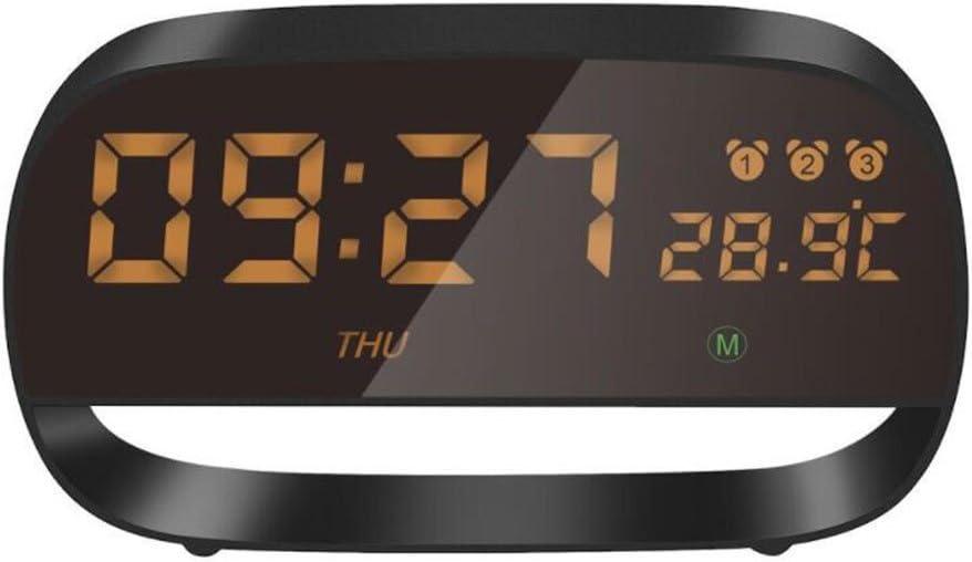 UK-BLUS Alarm Clock/Led Display Electronic Clock/Full Touch Screen Temperature Display Multi-Function Kids Clock, Black: Amazon.es: Hogar