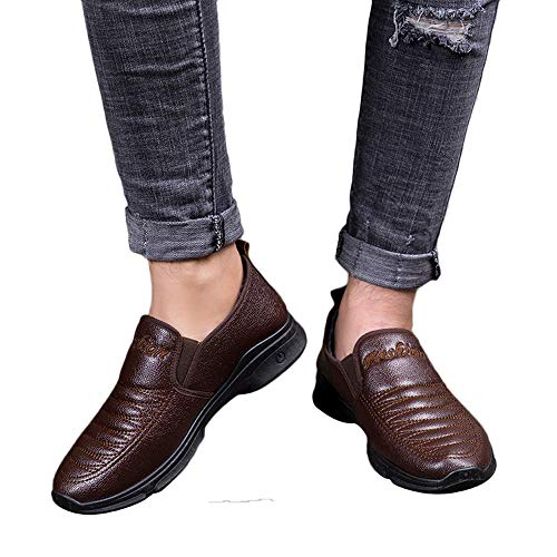 Todaies Vintage Men Leather Flat Shoes Keep Warm Cotton Round Toe Formal Business Shoes