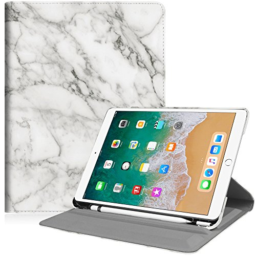 Fintie iPad Pro 10.5 Case with Built-in Apple Pencil Holder - 360 Degree Rotating Stand Protective Cover with Auto Sleep/Wake Feature for Apple iPad Pro 10.5 Inch 2017 Release, Marble White