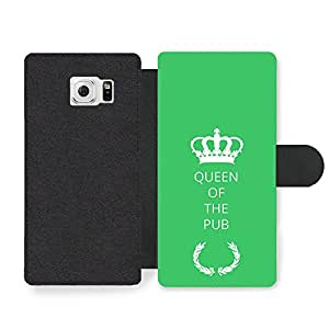 New Funny Queen of the Pub Gift Idea on Green Design Faux Leather case for Samsung Galaxy S6