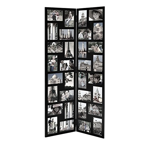 Adeco PF0545 Black Wood Hinged Folding Partition Screen-Styl